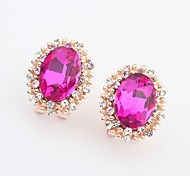 Women's Luxurious Glass Bead Rhinestone Oval Needle Clip On Stud Earrings
