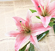 33inch Long Real Touch 3 Heads Pink Lily