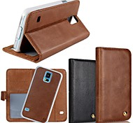 2 In 1 Top Quality Genuine Leather Wallet Case with Stand Cover for Samsung Galaxy S5