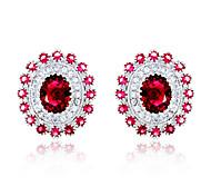 High Quality Fashion Women Elliptical Zircon Earrings