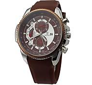 Men's Fashion Two Small Circular Dial Design Silicone Strap Quartz Movement Wrist Watches (Assorted Colors)