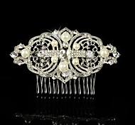 Vintage Wedding Bride Flower Austria Crystal Silver Combs Hair Accessories