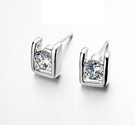 Lady Stud Earring 18K Rose/White Gold Plated Fashion Earrings Simulated Diamond Jewelry