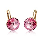 Exquisite Fashion 18K Rose Gold Plated Ladies Jewelry Dazzing Pink Crystal Cubic Zirconia Dangle Earrings