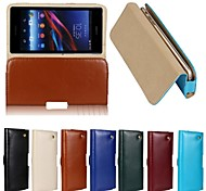 New Genuine Belt Clip Pouch Crazy Horse Leather Phone Case Cover for SONY Z1(Assorted Colors)