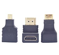 HDMI 90 Degree Male to Female Adapter + HDMI Female to Micro HDMI Male Adapter + HDMI to Mini HDMI Converter Adapter