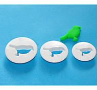 FOUR-C пластиковые круглые помады резак, торт украшения инструменты, торт Простые Mold набор 3
