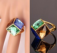 U7® Multicolors Fancy Stone Ring 18K Real Gold Plated Statement Ring Shiny Crystal Jewelry for Women High Quality