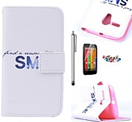 KARZEA™Bright Smile Pattern PU Leather Case with Screen Protector and Stylus and Dust Plug for Motorola moto G