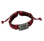 Tina -- Fashion Alloy I LOVE JESUS Leather Bracelet in Daily