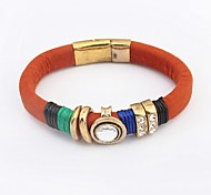 Women's Ethnic Noble Round Glass Bead Rhinestone Wrist Chain Bracelets