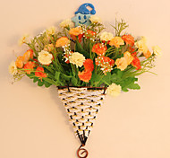 "11.4""H Modern Style Multicolor Roses in Flower Basket"