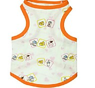 Bread and Milk Pattern Cotton Orange Boundary White Vest for Pets Dogs (Assorted Sizes)