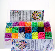 DIY Silicone Bandz Rainbow Color Loom Style with 9000pcs Bands and 200 S-clips in Plastic Carry Case