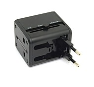 Black Universal Power Adaptor Travel Plug Electrical Converter USA UK Europe with Dual USB Charger Port