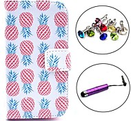 Pineapple Pattern PU Leather Case with Stylus and Dust Plug for Samsung Galaxy Trend Lite S7390/S7392