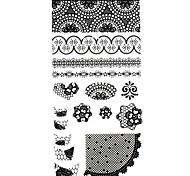 1PC 3D Black Nail Art Stickers Lace Nail Wraps DIY Nail Decals Flower Heart Nail Polish Decorations