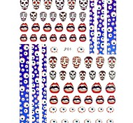 1PC New Design 3D Trendy Nail Art Stickers Nail Wraps Nail Decals Red Monster Eye Skeleton Nail Polish Decorations