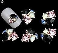 Black Lovely/Wedding Finger/Toe Nail Jewelry/Glitter Metal 5PCS 4*3*1