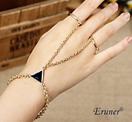 Eruner® 2015 New Gold Plated Punk Triangle Conjoined Dorsum Hand Chain Bracelet for Women Jewelry Wholesale
