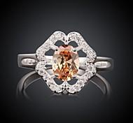 Fashion Red Diamante Flower Women Orange and Silver Zircon Statement Rings(Orange and Silver)(1Pcs)