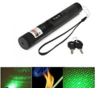 LS321 G303 Lockable Adjustable Focus Green Laser Pointer(5mw, 532nm, 1x18650, Black)