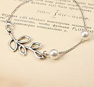 Fashion Twig White Beads Silver Alloy Bracelet(1 Pc)