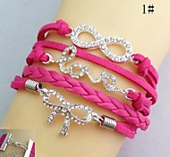 Fashion Handmade Women's Crytal Love Heart Infinity Leather Weave Bracelets(Assorted Colors)