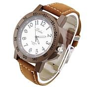 Women's Round Dial PU Leather Quartz Analog Fashion Wrist Watch Black Gray Brown
