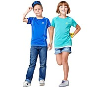 Outdoors Kid's Polyester Blue Green and Red Colors Quick-drying Short Sleeve T-shirts