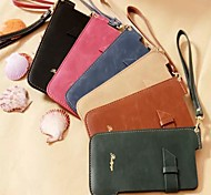 Sewing Thread Wrist Strap PU Leather Cover with Stand for iPhone 6 Plus Case (Assorted Color)