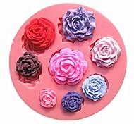 восемь различных размеров картины розы цветок шоколадный торт формы