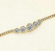 Fashion Adjustable 18K Yellow Gold Plated Shining Clear Austria Crystal Simulated Diamond Sapphire Bracelet
