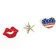 European Fashion  Red Lip Star Heart Brooch (3PC)