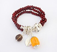 Women's Elegant Pendants and Beads Cluster Layers Stretchy Wrist Chain Bracelets