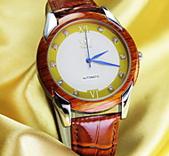 Men's Round Wooden Alloy Dial Casual Watch Silicone Strap Japanese Quartz Watch Wrist Watch (Assorted Colors)