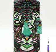 The Lion Pattern PU Leather Case Cover with A Touch Pen ,Stand and Card Holder for iPhone 5C