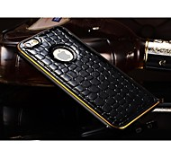 Crocodile Texture Metal Bumper Stripe Edge Genuine Leather Back Case for iPhone 6 Plus (Assorted Color)