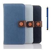 5.1 Inch Denim Pattern Wallet Leather Case with Pen for Samsung GALAXY S6