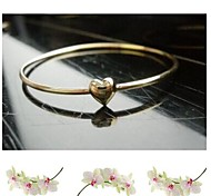Slender Bangle Love Heart Gold Metal Bracelet