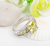 High Quality Fashion Platinum 10 KT Yellow Square Zircon Ring