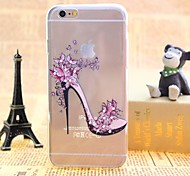 Flowers Heels Pattern TPU Relief Thin Transparent Diamond Paste Back Cover Case for iPhone 6