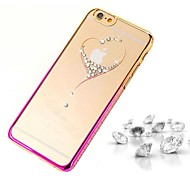 High Quality Vacuum Plating Laser Carving Rhinestone Series Love PC Hard Case for iPhone 6 Plus