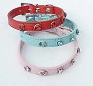 Red/Blue/Pink Retractable PU Leather Collars For Dogs/Cats