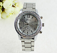 Coway Fashion Women's Round Diamond Dial Silver Alloy Band Quartz Analog Waterproof Wrist Watch
