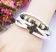 Alloy Butterfly Infinite Multilayer Handmade Leather Bracelet