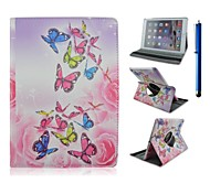 9.7 Inch 360 Degree Rotation Butterfly Pattern with Stand Case and Pen for iPad Air 2/iPad 6