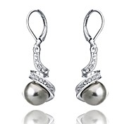 Top Quality Imitation Pearl Earrings 18K White Gold Plated Fashion Jewelry Made with Austrian Crystal