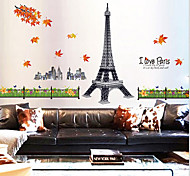 Environmental Removable Romantic Paris Pattern PVC Stickers & Tapes