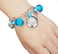 Women's Keychain Watch Quartz Analog Pearls Blue/Black